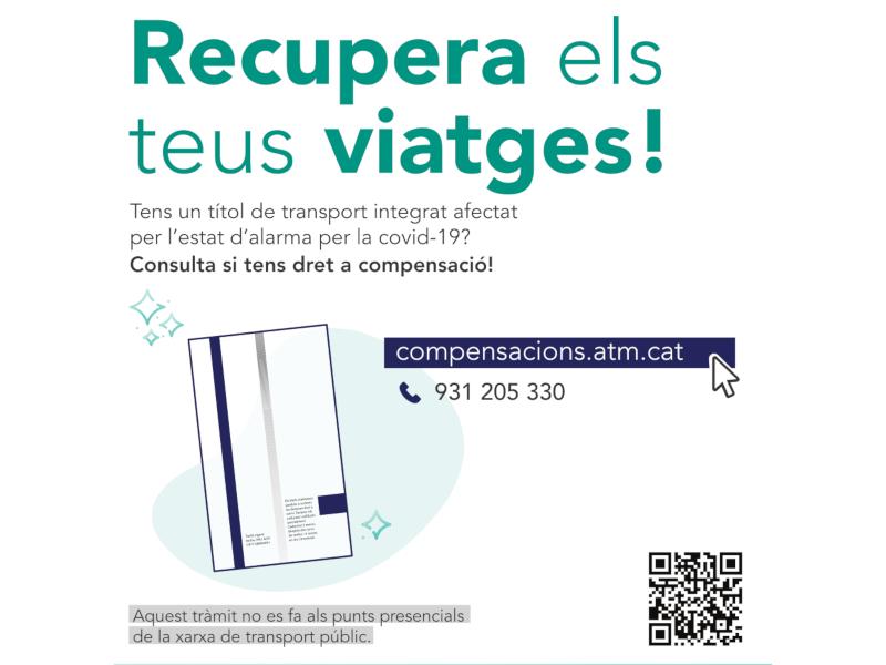 S'ENGEGA LA COMPENSACIÓ DELS TÍTOLS DE TRANSPORT INTEGRATS NO UTILITZATS DURANT L'ESTAT D'ALARMA